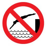 Prohibition safety sign - No Diving 191